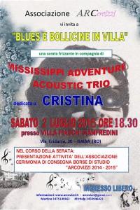"""locandina """"Blues e bollicine in Villa"""" 2 luglio 2016"""